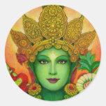 La cara de Tara verde de la diosa Pegatina Redonda
