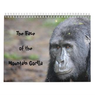 La cara del gorila de montaña ningunos días de calendario