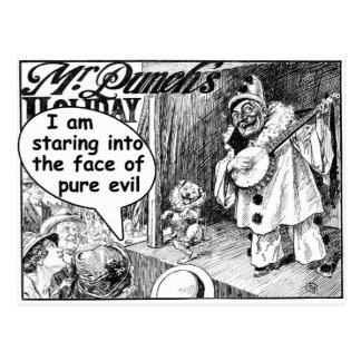 La cara del mal puro (payaso del banjo) postales