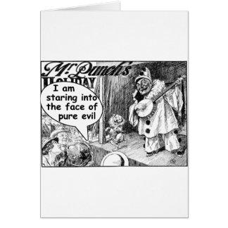La cara del mal puro (payaso del banjo) tarjeta de felicitación