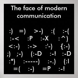 La cara del poster moderno de la comunicación