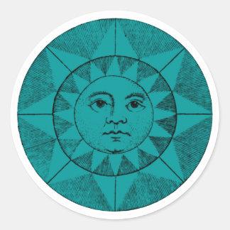 la cara del sol pegatina redonda