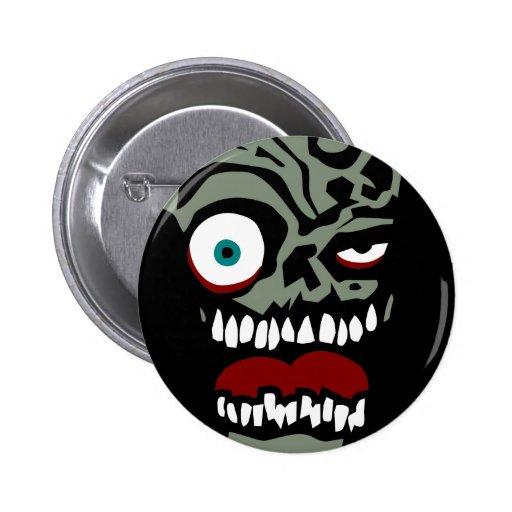 La cara del zombi de la condenación pins
