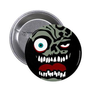 La cara del zombi de la condenación pin redondo de 2 pulgadas