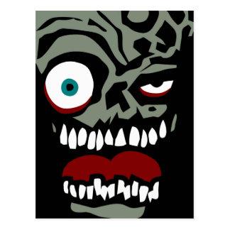 La cara del zombi de la condenación postales