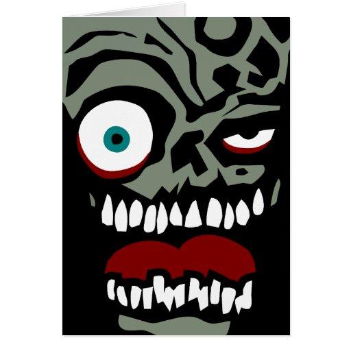 La cara del zombi de la condenación tarjeton
