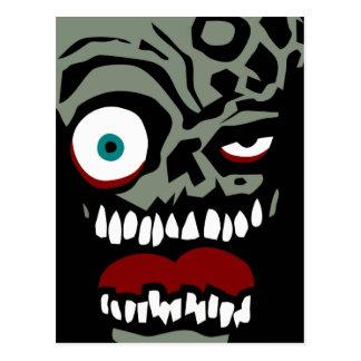 La cara del zombi de la condenación tarjeta postal
