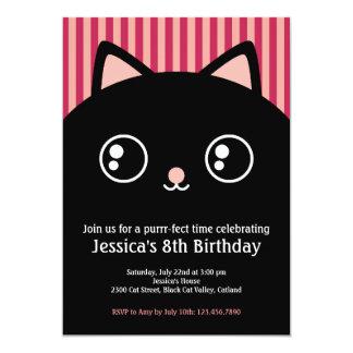 """La cara linda del gatito del gato negro embroma la invitación 5"""" x 7"""""""