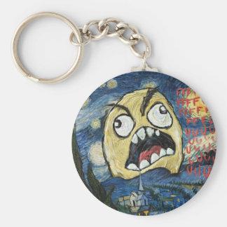 La cara Meme de la rabia hace frente a la pintura  Llavero Redondo Tipo Pin
