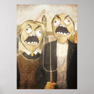 La cara Meme de la rabia hace frente a la pintura Poster