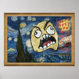 La cara Meme de la rabia hace frente a la pintura  Posters