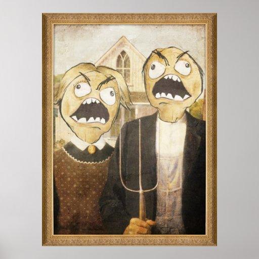 La cara Meme de la rabia hace frente a la pintura  Impresiones