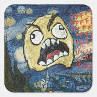 La cara Meme de la rabia hace frente a la pintura Pegatina Cuadrada