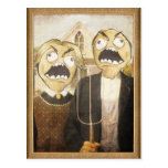 La cara Meme de la rabia hace frente a la pintura Postal