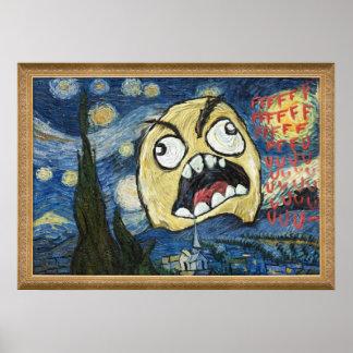 La cara Meme de la rabia hace frente a la pintura  Póster