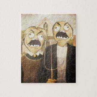 La cara Meme de la rabia hace frente a la pintura  Rompecabezas Con Fotos