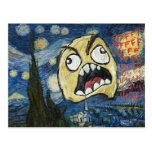 La cara Meme de la rabia hace frente a la pintura Tarjeta Postal