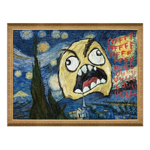 La cara Meme de la rabia hace frente a la pintura Tarjetas Postales