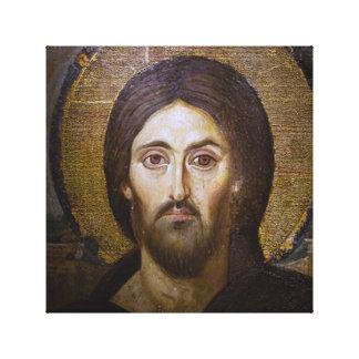 LA CARA SANTA DEL ICONO SAGRADO DE JESÚS LIENZO ENVUELTO PARA GALERÍAS