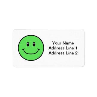 La cara sonriente etiqueta el verde 0001 etiquetas de dirección