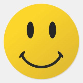 La cara sonriente original etiqueta redonda
