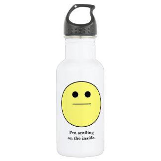 La cara sonriente para los que no están sonriendo botella de agua