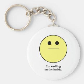 La cara sonriente para los que no están sonriendo llaveros personalizados