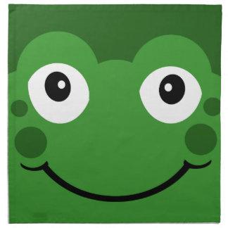 La cara verde linda de la rana del dibujo animado servilleta