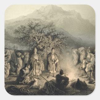 La caravana de comerciantes armenios, pegatina cuadrada