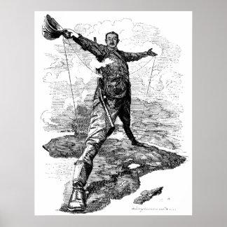 La caricatura del coloso de Rodas de Edward Sambou Póster