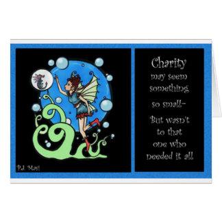La caridad nunca falla tarjeta de felicitación
