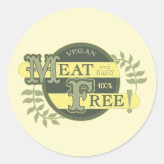 La carne 100% libera al vegano pegatina redonda