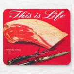La carne asada de carne de vaca retra de la comida alfombrillas de ratón
