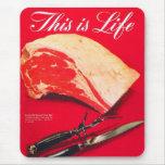 La carne asada de carne de vaca retra de la comida alfombrilla de ratón