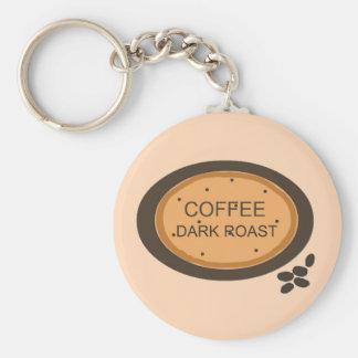 La carne asada oscura del café firma adentro el na llavero redondo tipo pin