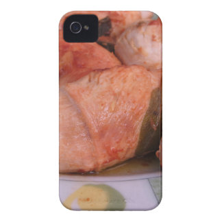 La carne de vaca rouladen con el jamón y el queso iPhone 4 Case-Mate cárcasa