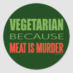 La carne es asesinato - Anti-Carne Etiquetas Redondas