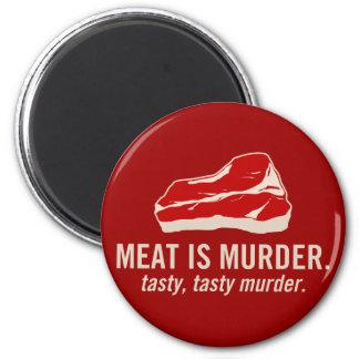La carne es asesinato asesinato sabroso imán para frigorifico