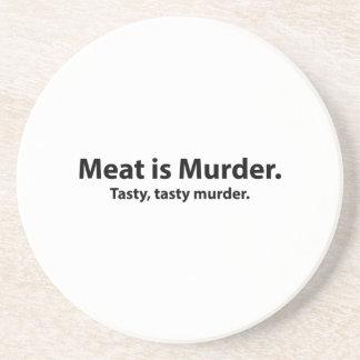 La carne es asesinato Asesinato sabroso sabroso Posavasos Cerveza