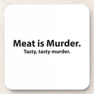 La carne es asesinato Asesinato sabroso sabroso Posavasos De Bebidas
