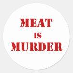 La carne es asesinato etiqueta redonda