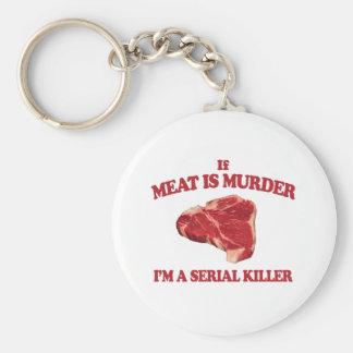 La carne es asesinato llavero redondo tipo pin