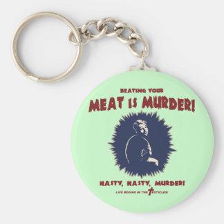 … la carne es asesinato llavero redondo tipo pin