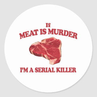 La carne es asesinato pegatina redonda