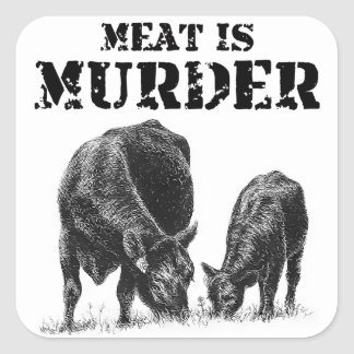 La carne es asesinato pegatina cuadrada