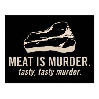 La carne es asesinato.  Postal sabrosa, sabrosa de