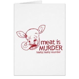 La carne es asesinato tarjeta de felicitación