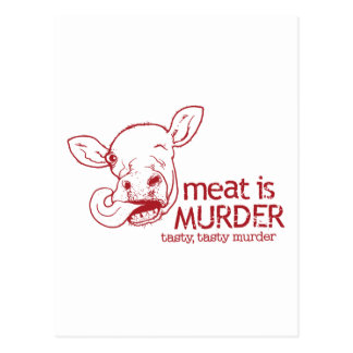 La carne es asesinato tarjeta postal