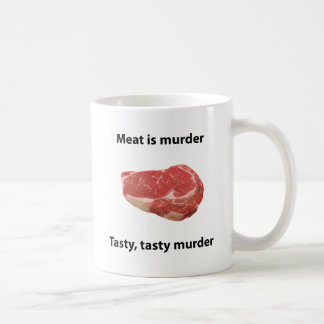 La carne es asesinato taza