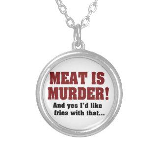 ¡La carne es asesinato! Y quisiera sí las fritadas Collar Plateado